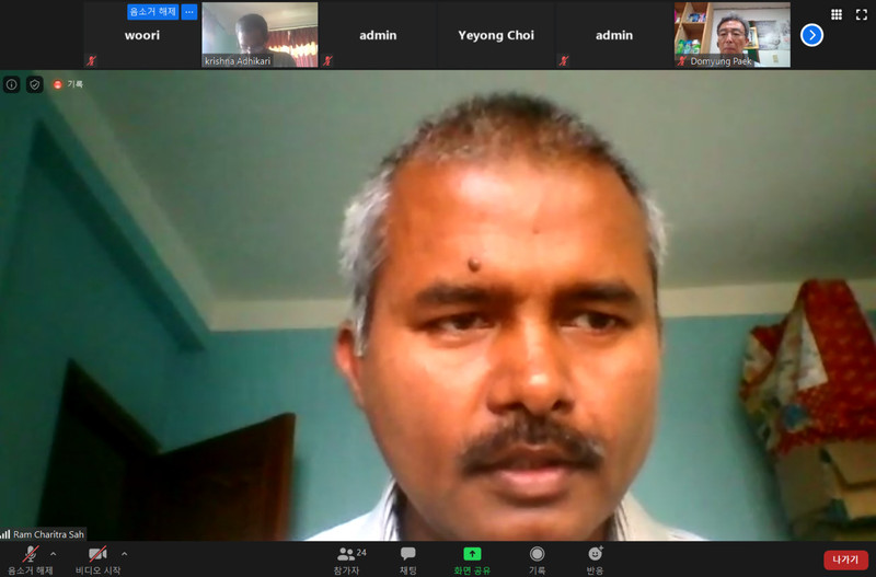 '안로예프'의 람 차리트라 사씨가 15일 환경보건센터가 마련한 엘지화학 인도 공장 가스 누출 사고 관련 기자간담회에서 발언을 하고 있다. 영상 화면 갈무리.